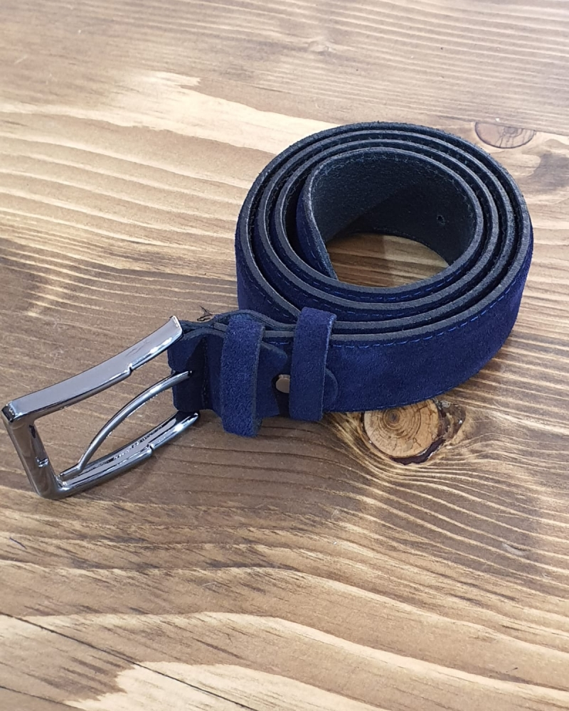Navy Blue Suede Leather Belt for Men by GentWith.com with Free Worldwide Shipping