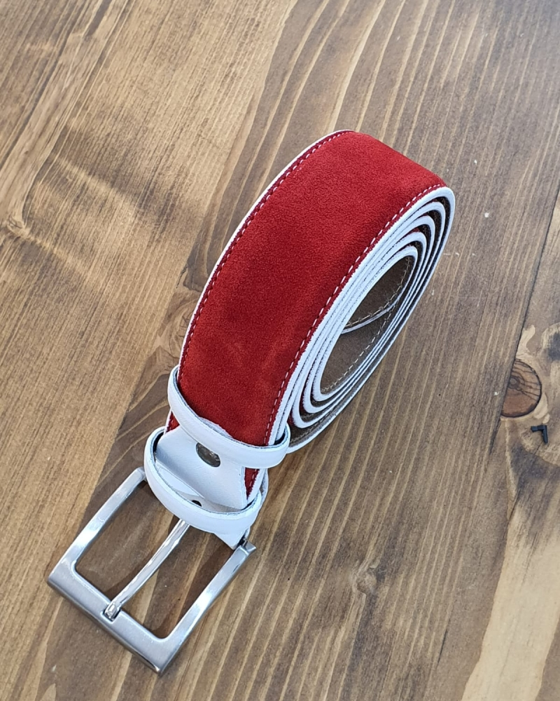 Red Suede Leather Belt for Men by GentWith.com with Free Worldwide Shipping