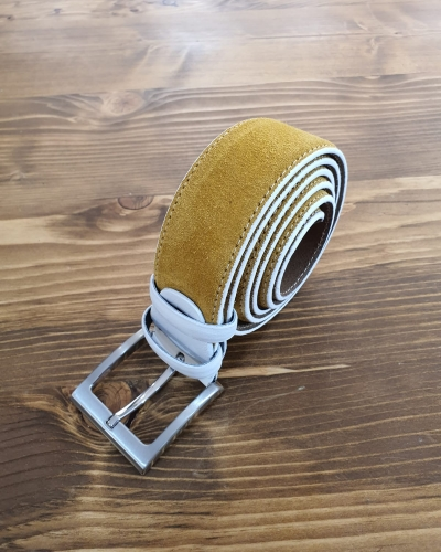Yellow Suede Leather Belt for Men by GentWith.com with Free Worldwide Shipping