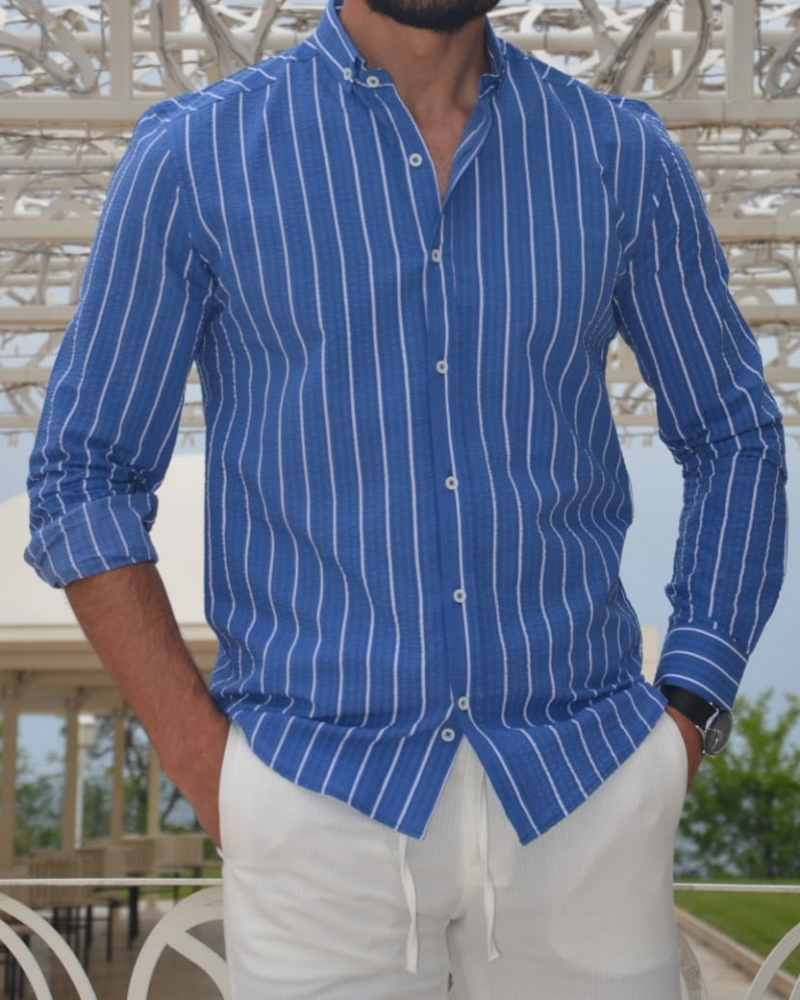Sax Slim Fit Striped Cotton Shirt by GentWith.com with Free Worldwide Shipping