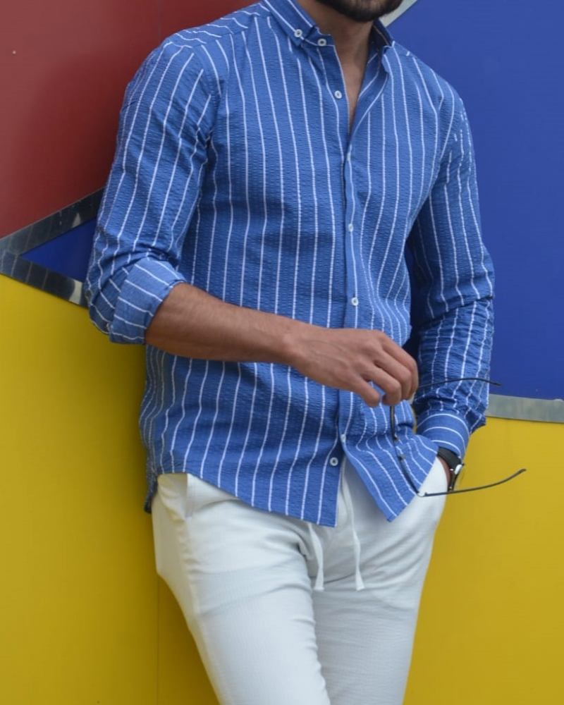 Sax Slim Fit Striped Shirt by GentWith.com with Free Worldwide Shipping
