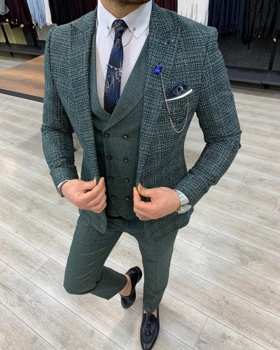 Green Slim Fit Check Suit by GentWith.com with Free Worldwide Shipping