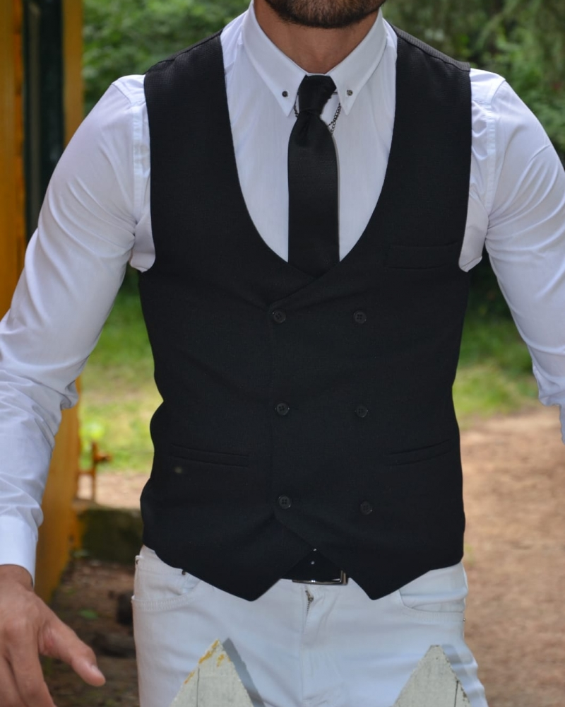Black Slim Fit Double Breasted Vest by GentWith.com with Free Worldwide Shipping