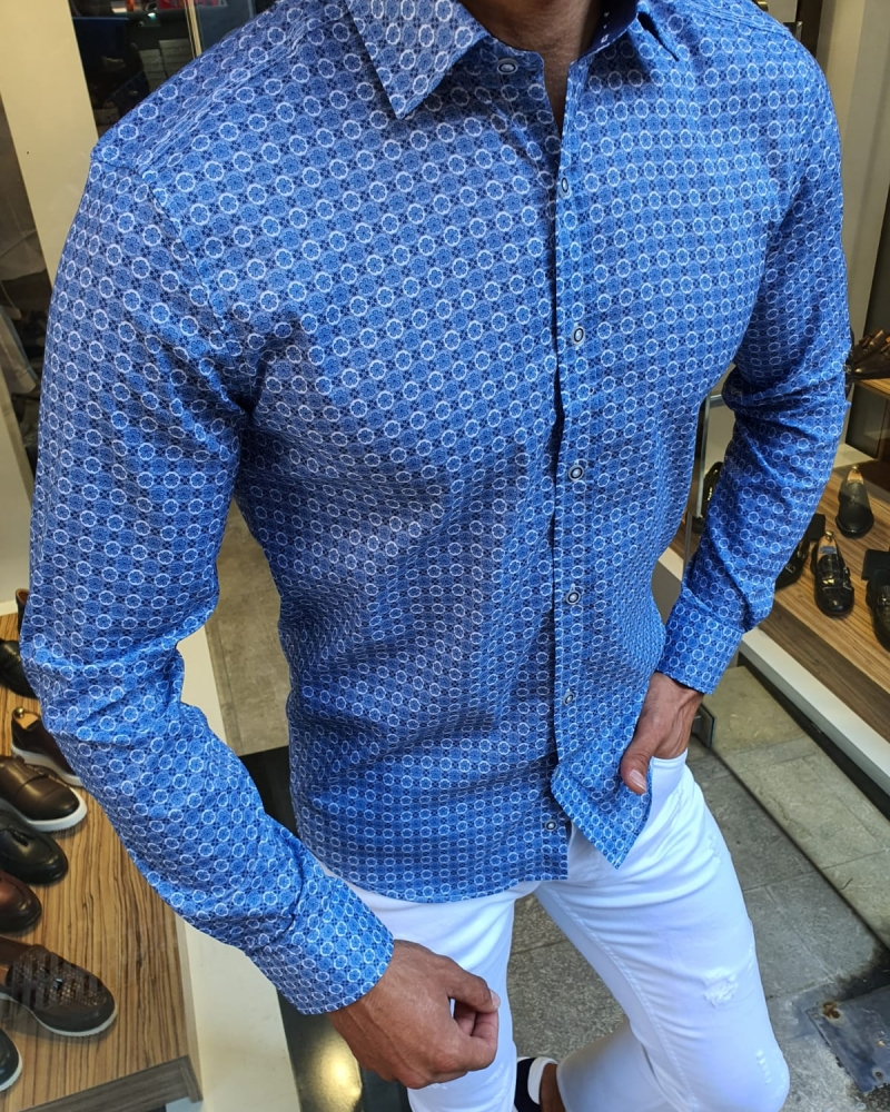 Indigo Slim Fit Patterned Shirt for Men by GentWith.com with Free Worldwide Shipping