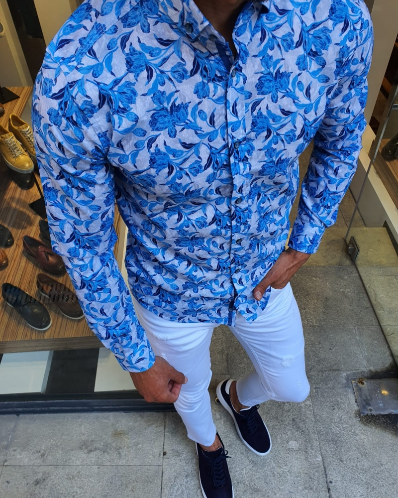Turquoise Slim Fit Floral Shirt for Men by GentWith.com with Free Worldwide Shipping