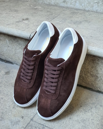 Brown Mid-Top Suede Sneaker for Men by GentWith.com with Free Worldwide Shipping