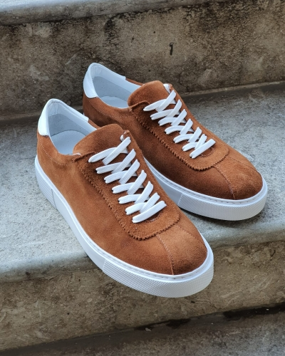 Cinnamon Mid-Top Suede Sneaker for Men by GentWith.com with Free Worldwide Shipping