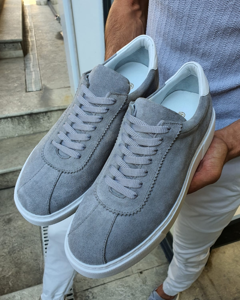Gray Mid-Top Suede Sneaker for Men by GentWith.com with Free Worldwide Shipping