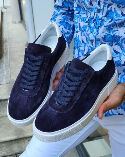Navy Blue Mid-Top Suede Sneaker for Men by GentWith.com with Free Worldwide Shipping