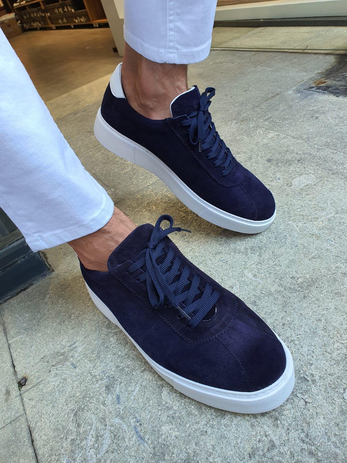 Buy Navy Blue Mid Top Suede Sneakers by