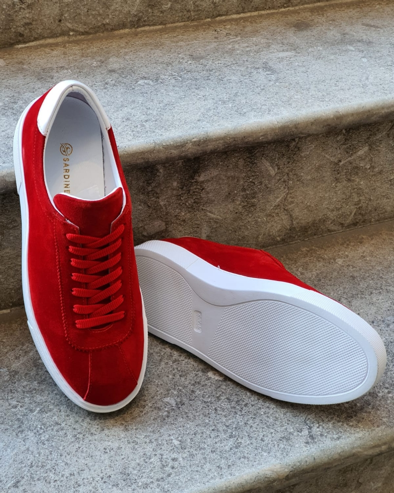 Red Mid-Top Suede Sneaker for Men by GentWith.com with Free Worldwide Shipping