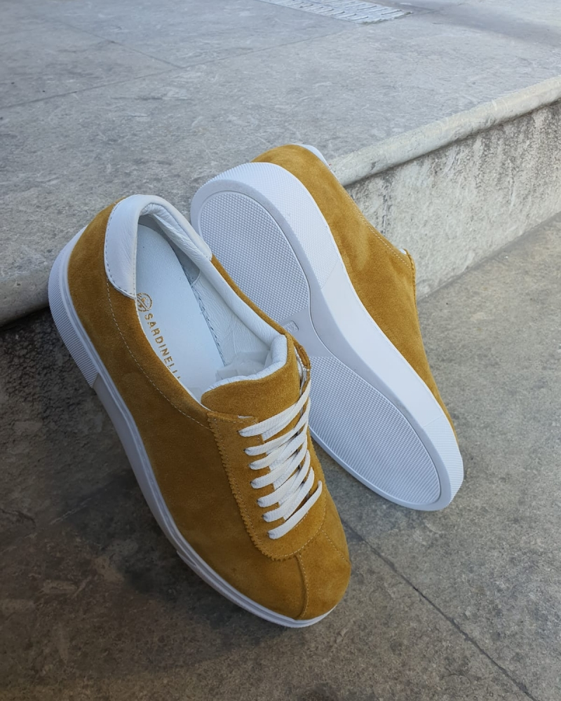 Yellow Mid-Top Suede Sneaker for Men by GentWith.com with Free Worldwide Shipping