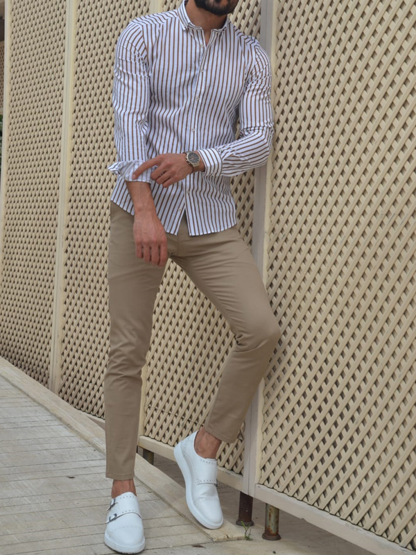 Beige Slim Fit Striped Cotton Shirt by GentWith.com with Free Worldwide Shipping