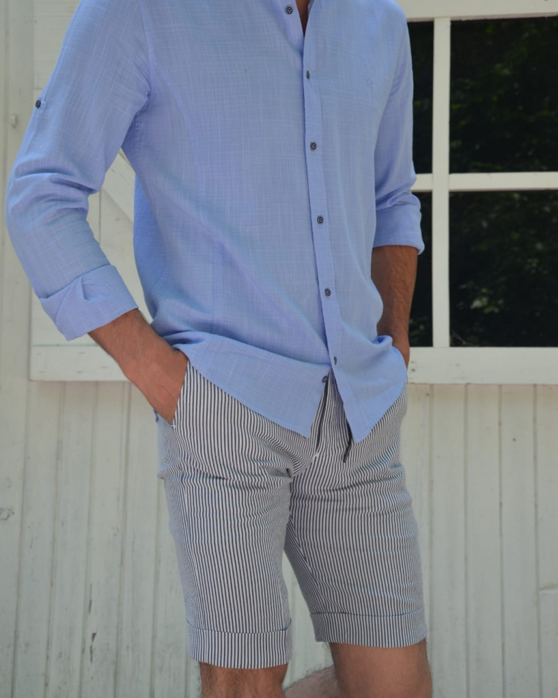 Blue Slim Fit Cotton Shirt by GentWith.com with Free Worldwide Shipping