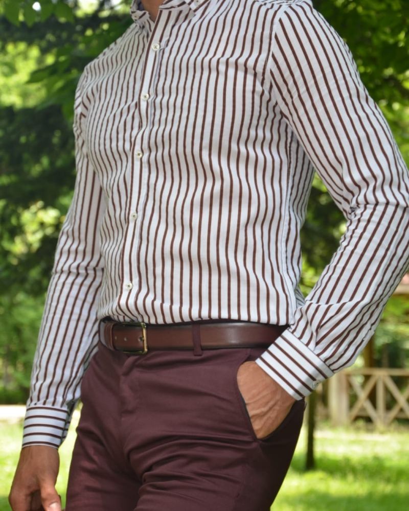 Brown Slim Fit Striped Cotton Shirt by GentWith.com with Free Worldwide Shipping