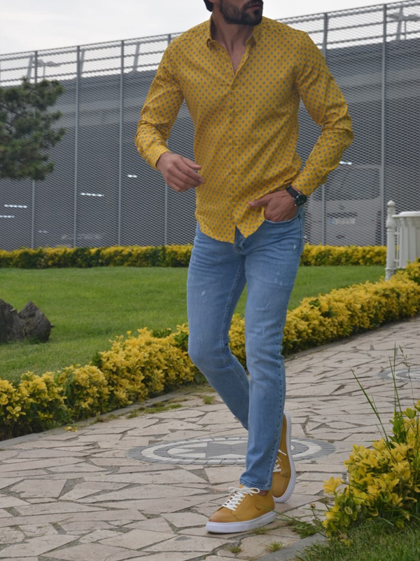 Yellow Slim Fit Casual Shirt by GentWith.com with Free Worldwide Shipping