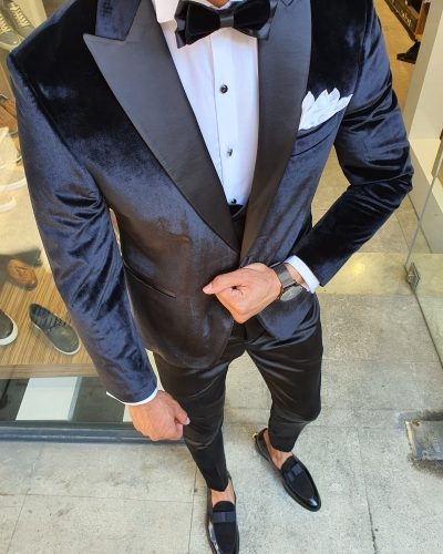 Black Slim Fit Peak Lapel Velvet Tuxedo for Men by GentWith.com with Free Worldwide Shipping