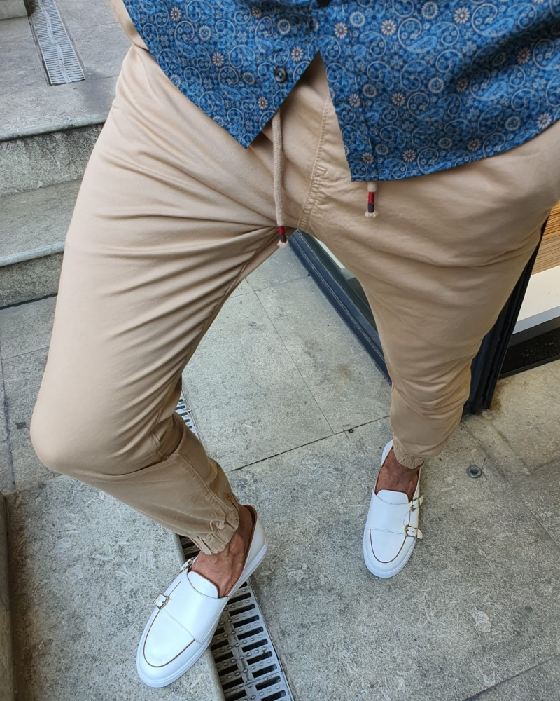 Beige Slim Fit Laces Pants for Men by GentWith.com with Free Worldwide Shipping