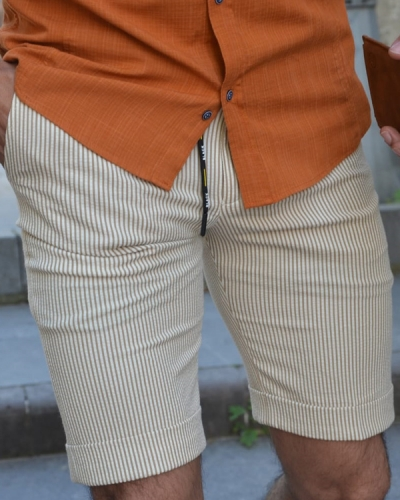 Beige Slim Fit Striped Shorts by GentWith.com with Free Worldwide Shipping