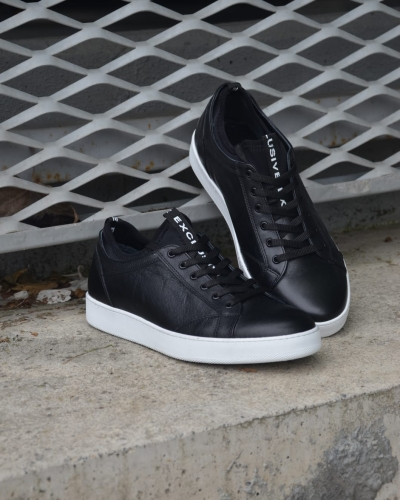 Black Low-Top Sneakers by GentWith.com with Free Worldwide Shipping