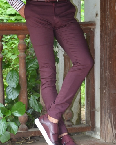 Burgundy Slim Fit Pants by GentWith.com with Free Worldwide Shipping