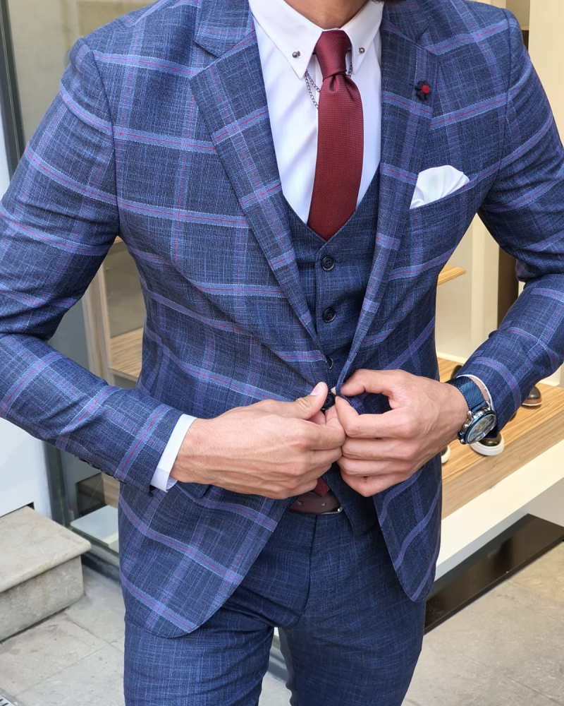 Indigo Slim Fit Check Plaid Suit by GentWith.com with Free Worldwide Shipping