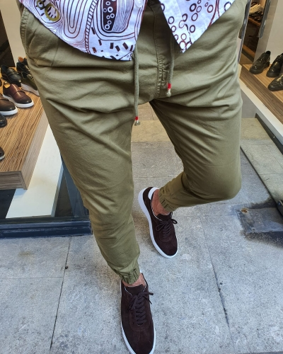 Khaki Slim Fit Laces Pants for Men by GentWith.com with Free Worldwide Shipping