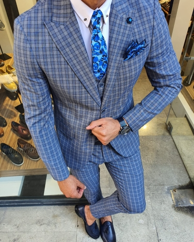 Navy Blue Slim Fit Check Suit for Men by GentWith.com with Free Worldwide Shipping