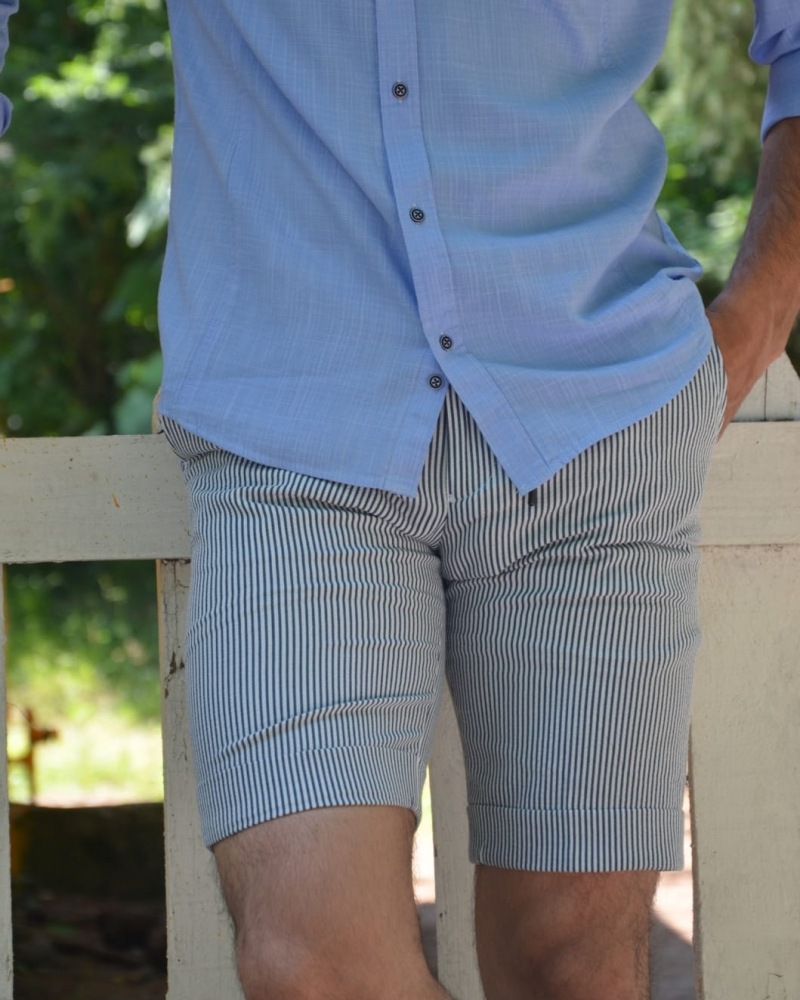 Navy Blue Slim Fit Striped Shorts by GentWith.com with Free Worldwide Shipping