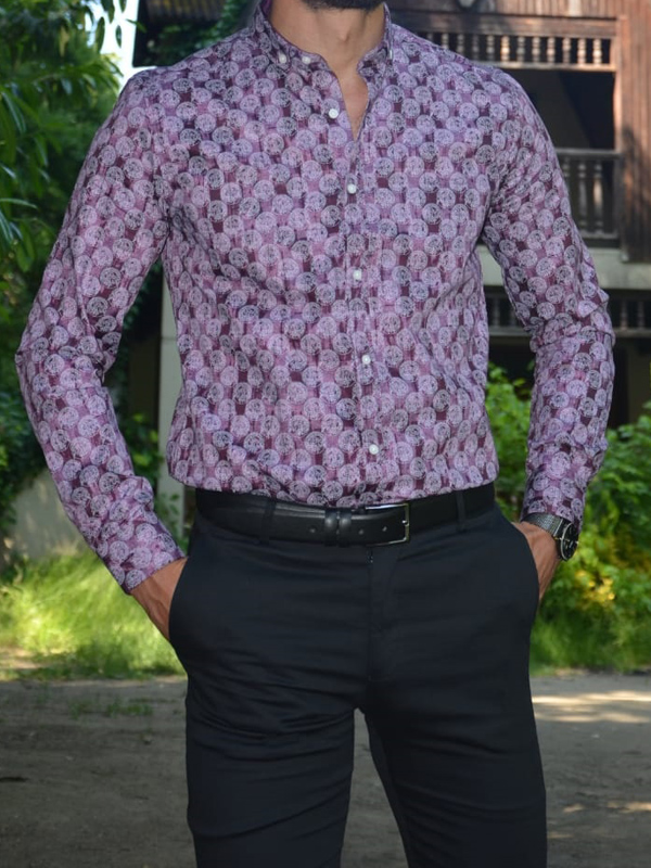 Purple Slim Fit Cotton Shirt by GentWith.com with Free Worldwide Shipping