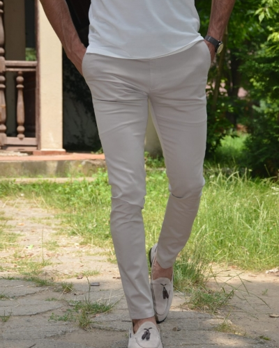 Stone Slim Fit Pants by GentWith.com with Free Worldwide Shipping