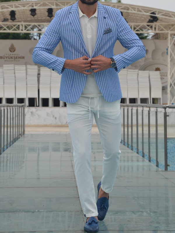 Blue Slim Fit Striped Blazer by GentWith.com with Free Worldwide Shipping