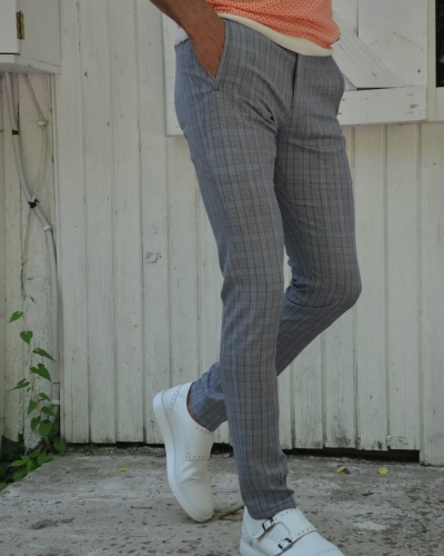 Gray Slim Fit Plaid Pants by GentWith.com with Free Worldwide Shipping