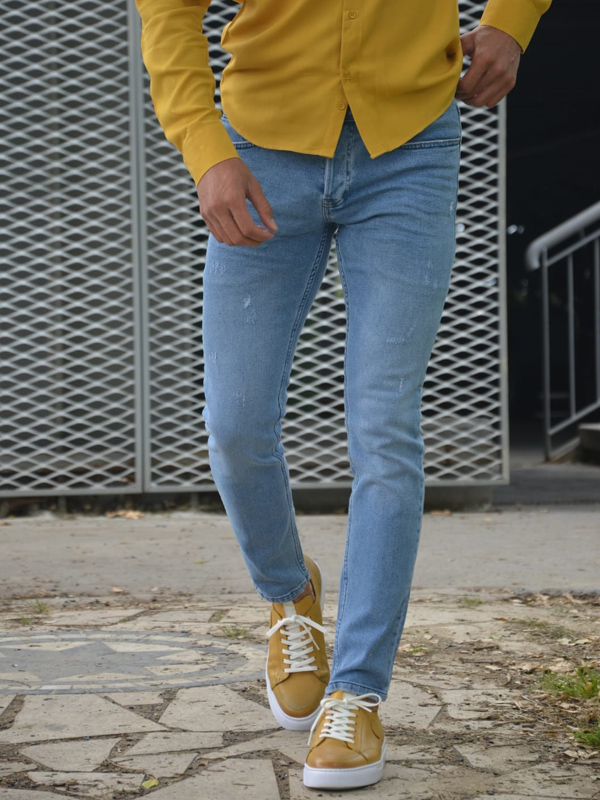 Blue Slim Fit Handmade Ripped Jeans by GentWith.com with Free Worldwide Shipping