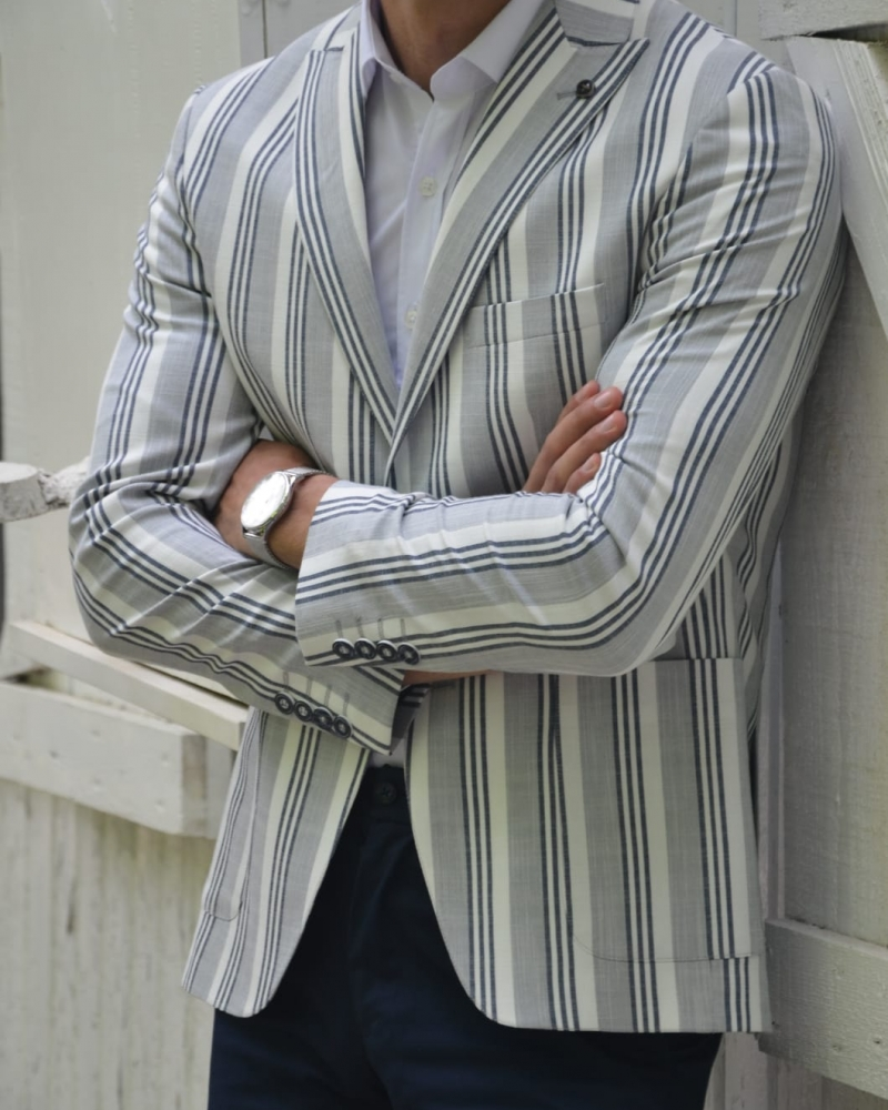 Gray Slim Fit Striped Blazer by GentWith.com with Free Worldwide Shipping