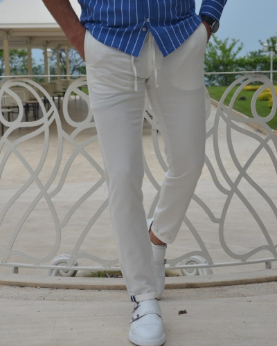 White Slim Fit Laces Pants by GentWith.com with Free Worldwide Shipping