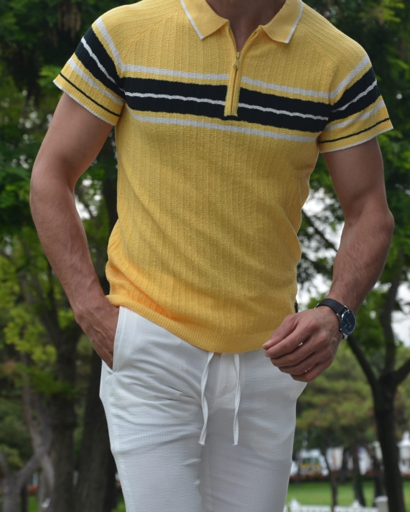 Yellow Slim Fit Collar Neck Zipper Knitwear T-Shirt by GentWith.com with Free Worldwide Shipping
