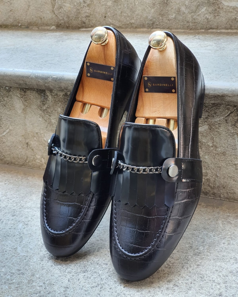 Black Kilt Loafers for Men by GentWith.com with Free Worldwide Shipping