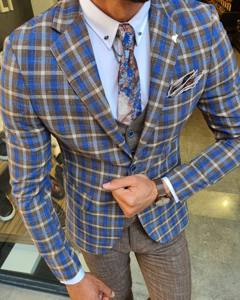 Camel Slim Fit Plaid Check Suit for Men by GentWith.com with Free Worldwide Shipping