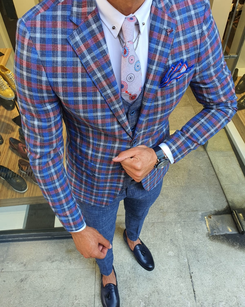 Navy Blue Slim Fit Plaid Check Suit for Men by GentWith.com with Free Worldwide Shipping