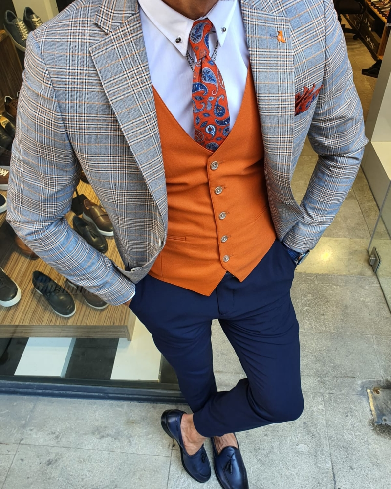 Orange Slim Fit Plaid Suit for Men by GentWith.com with Free Worldwide Shipping