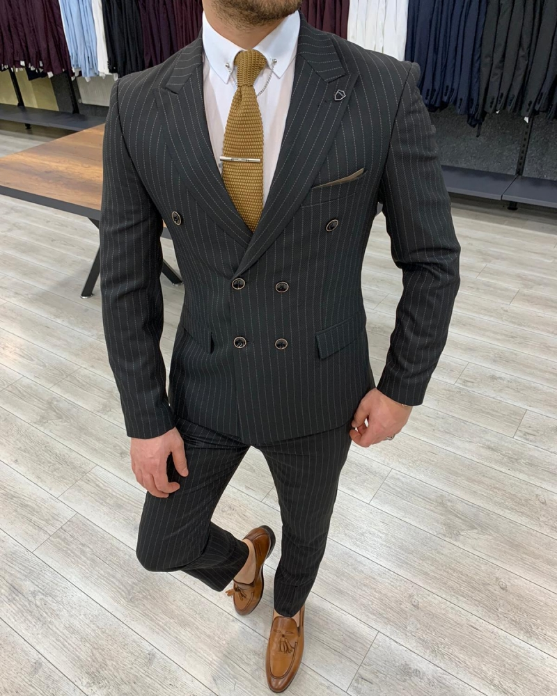 Slim Fit Double Breasted Black Suit by GentWith.com with Free Worldwide Shipping