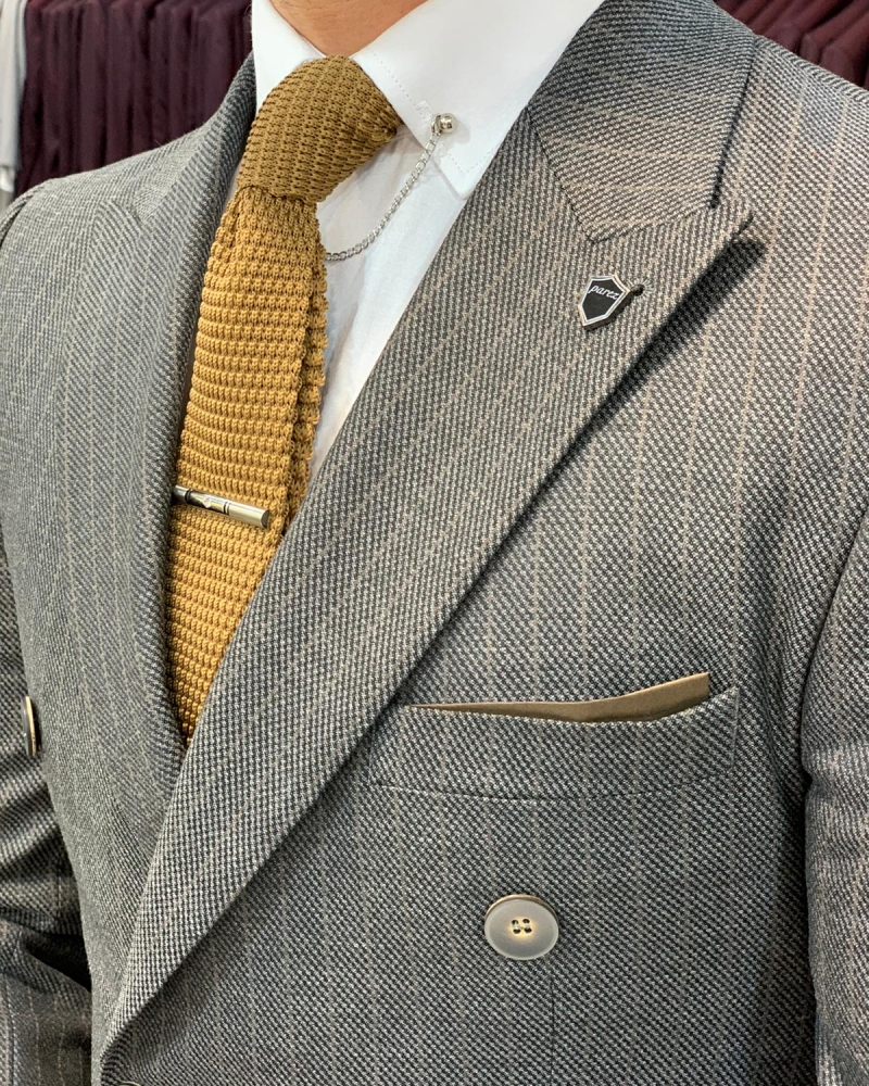 Slim Fit Double Breasted Gray Suit by GentWith.com with Free Worldwide Shipping