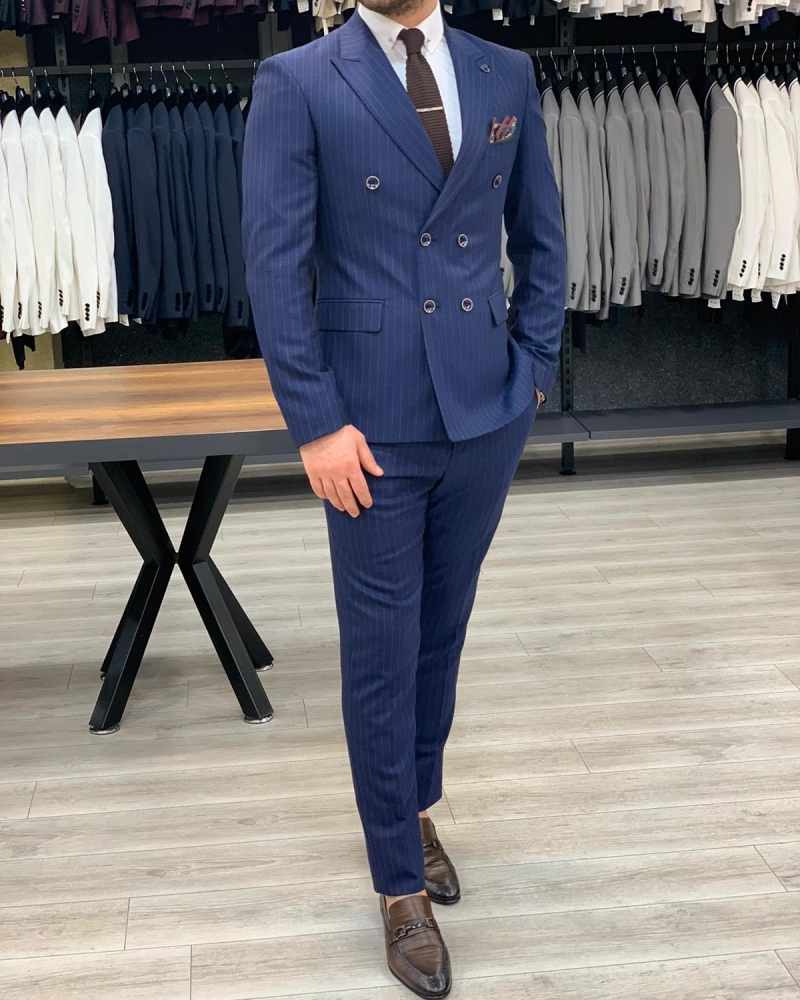 Slim Fit Double Breasted Navy Blue Suit by GentWith.com with Free Worldwide Shipping