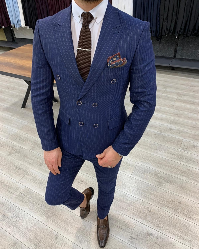 Navy Blue Slim Fit Double Breasted Suit by GentWith.com with Free Worldwide Shipping