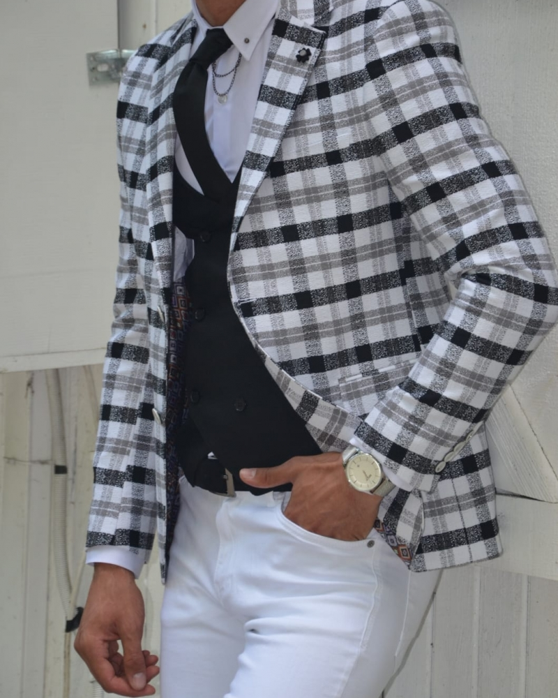 Gray Slim Fit Plaid Blazer by GentWith.com with Free Worldwide Shipping