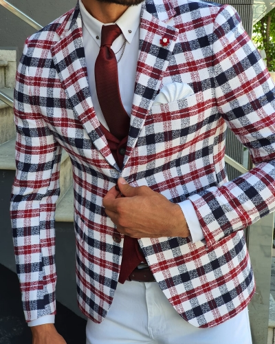 Red Slim Fit Plaid Blazer by GentWith.com with Free Worldwide Shipping