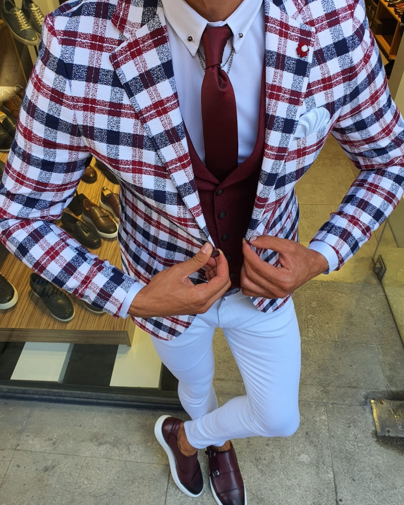 Red Slim Fit Plaid Suit by GentWith.com with Free Worldwide Shipping