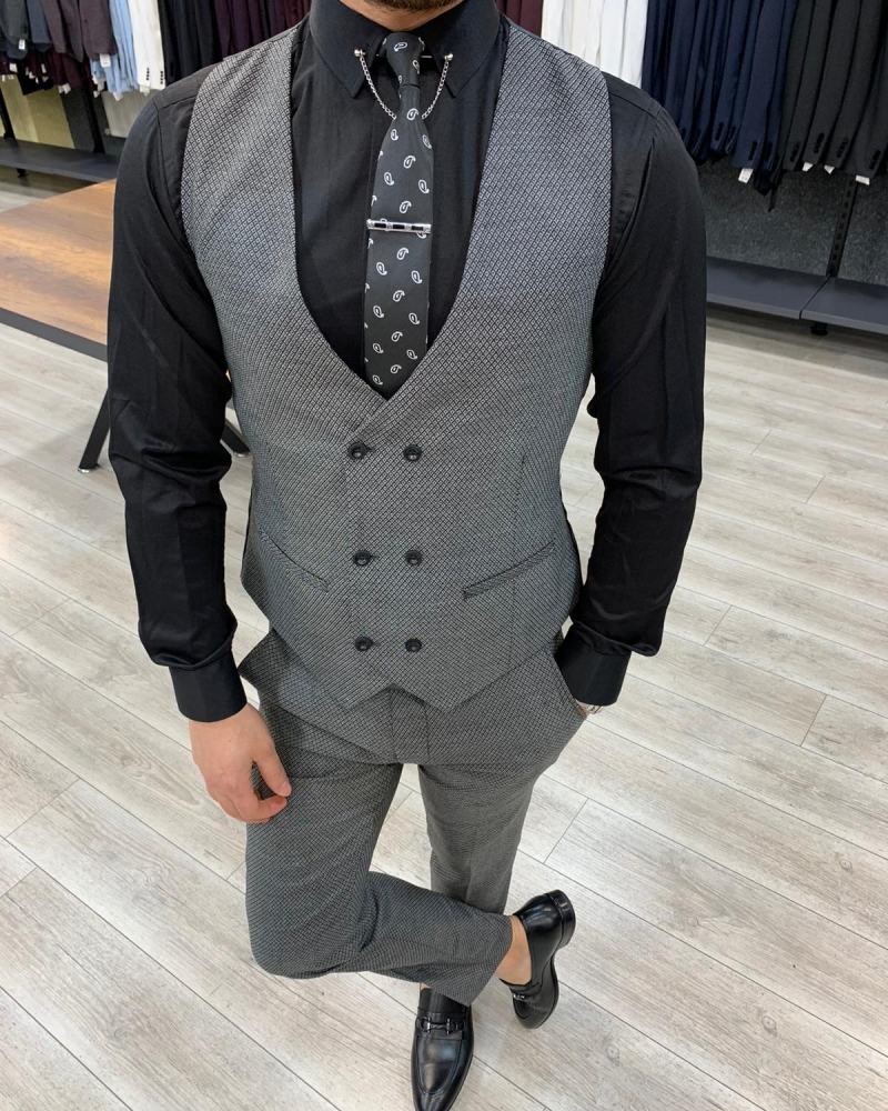 Slim Fit Gray Suit by GentWith.com with Free Worldwide Shipping