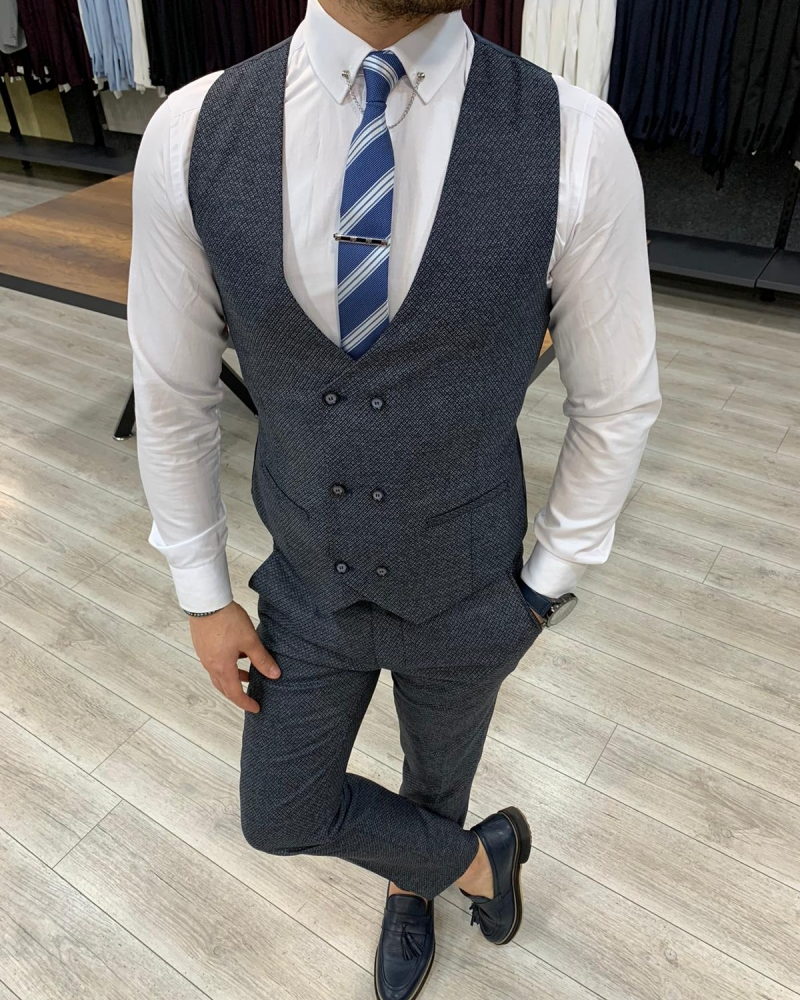 Navy Blue Slim Fit Suit by GentWith.com with Free Worldwide Shipping